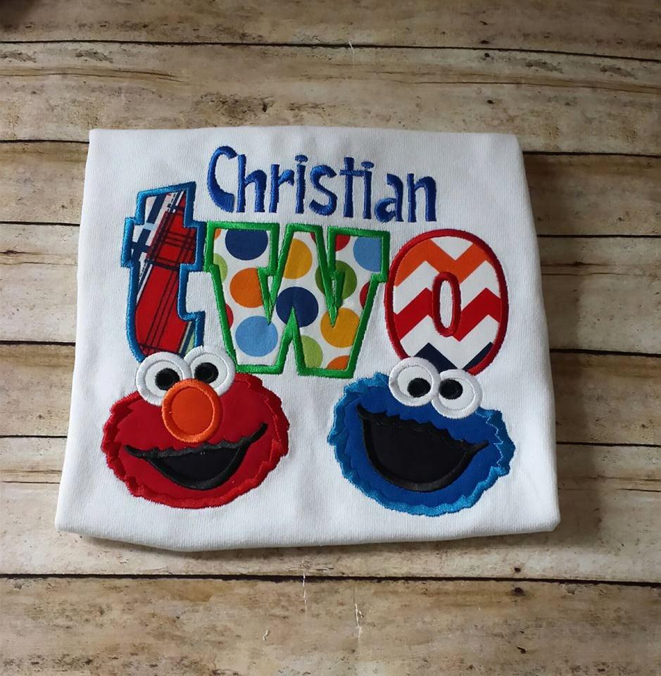 Elmo 2nd Birthday Tshirt Cookie Monster 2nd By StitchnCafe