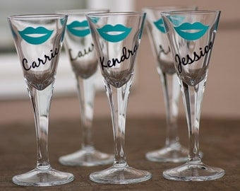 Martini shot glasses 1 oz, Bridesmaid gift, bride, hot pink lips, turquoise, gold, black. Sorority glasses. This listing is for one glass