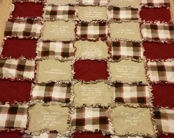 Big rig trucker rag quilt handmade lap quilt 18 wheeler truck driver blanket big rig sleeper quilt tan and burgundy