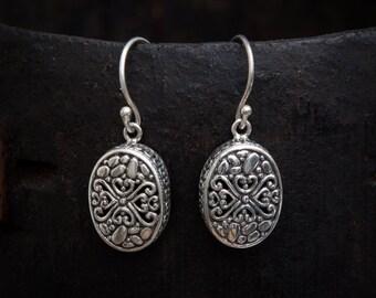 Silver Earrings, Silver Drops, Filigree Earrings, Pretty Earrings, Oval Earrings, Silver Filigree, Sterling Silver, 925