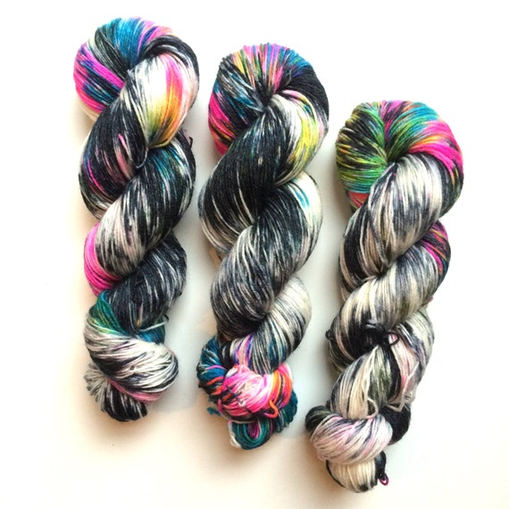 New edition Orion Nebula Hand dyed sock yarn 4ply finger weight superwash BFL and bamboo 100g. BFL is a British breed.