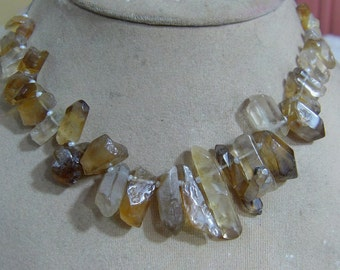 1 Strand Bio Lemon Quartz  Natural crystal shapes beads 9'' 47. grams 4X12 7X36 MM