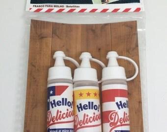 Cute kawaii mini sauce tubes/bottles for bento/lunch box