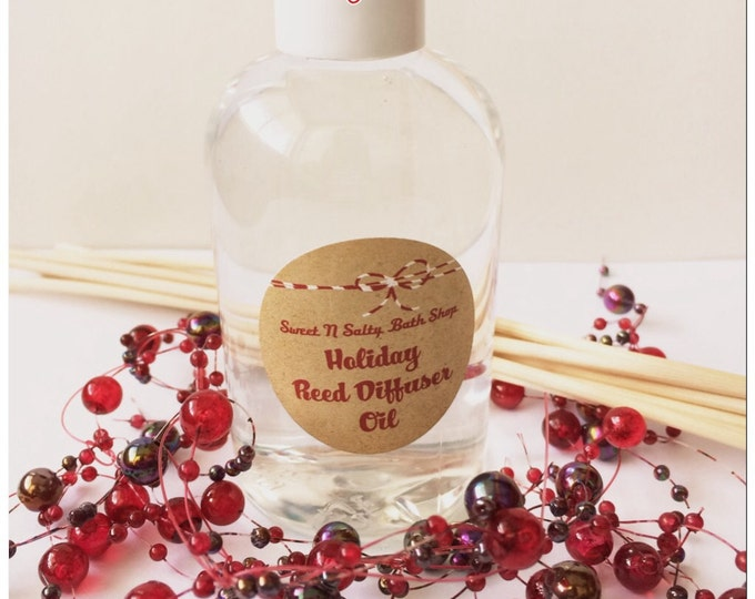 Holiday Reed Diffuser Oil Refill 4 oz. with Reeds-Choose Your Scent/Balsam Cedar/Mulberry/Cranberry/Gingerbread and More!