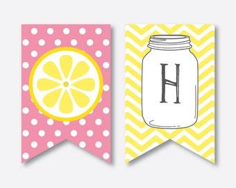 Instant Download, Pink Lemonade Party Banner, Pink Lemonade Happy Birthday Banner, Lemonade Banner, Lemonade Party Printables, Girl (SKB.37)