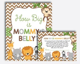 Instant Download, Safari How Big Is Mommy's Belly Game, Safari Belly Guessing Game, Safari Baby Shower Game, Jungle Baby Shower, Boy(SBS.31)