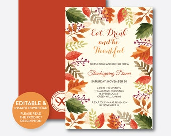 Instant Download, Editable Thanksgiving Invitation, Thanksgiving Dinner Invitation, Eat Drink and be Thankful, Fall Invitation (SHI.02)