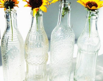 Soda Bottles / 4 Vintage Bottles with different Shapes and Patterns in Clear Glass / Simple