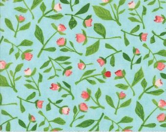Hazelwood - Floral Bud Leaves Aqua Fabric - One Canoe Two - Moda - by the half yard - 100% Cotton