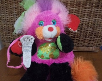 Vintage 1980s Punkster Rock Star Popples Plush Stuffed Toy