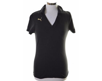 Puma Womens Polo Shirt Size 12 Medium Black Cotton