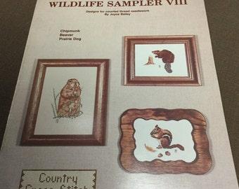 Wildlife Sampler VIII Country Cross-Stitch Joyce Bailey Chipmunk, Beaver, Prairie Dog 1978 Chart