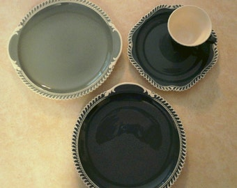 """Vintage Luncheon Set 4-Piece Harker Pottery """"Pate sur Pate"""" Country Cottage Chic Table Ware Tea Party Dishes Farmhouse Lunch Table Gift Idea"""
