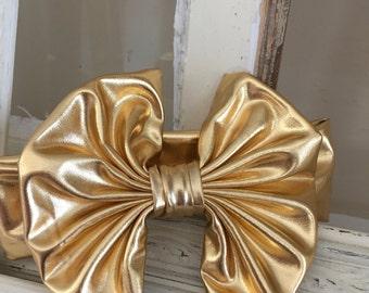 Gold Floppy bow, turban headband, floppy bow headband, trendy baby, big bow headband, baby headband