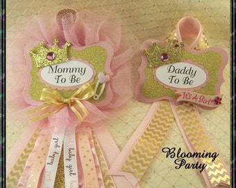 Princess Mommy To Be Corsage and Daddy To Be Princess Baby Shower Corsages