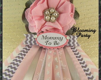 Pink And Gray Mommy To Be Corsage Baby Shower Corsage Mom Badge Mom Corsage  Fabric Flower