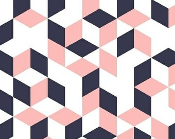 Fabric by the Yard - Fat Quarter Bundle - Pink Fabric - Navy Cubes - Maribel - Navy and Pink Fabric - Geometric Fabric - - Now on Sale