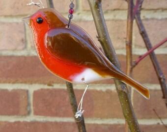 Fused glass robin, bird lover gift, garden birds, british birds, garden ornament, british wildlife, not just for Christmas, robin bird art