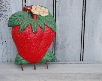 Strawberry Key Hook, Strawberry Chalkware, Key Holder, Strawberry Decor, Strawberry Kitchen Decor, Strawberry Hook, Key Organizer