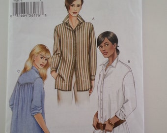 Collar blouse/Button Down shirt / long sleeves /shirt with cuffs/office blouse 2003 sewing pattern, Bust 30 31 32, Size 6 8 10 , Vogue 7700