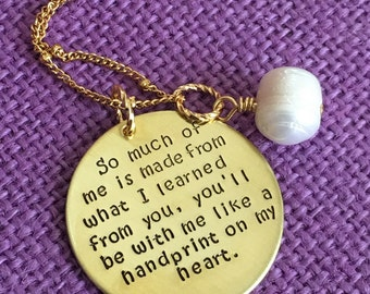 Teacher Necklace Teacher Gift - Teacher Appreciation - So much of me is made from you - gold color - ready to ship