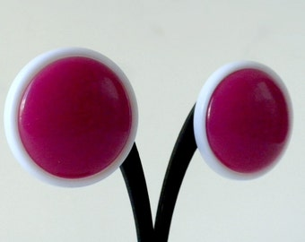 Pink Button Earrings, Pink Stud Earrings, Pink and White Earrings