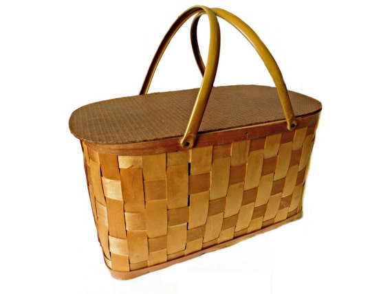 Picnic Basket Items : Items similar to s hawkeye picnic basket large woven