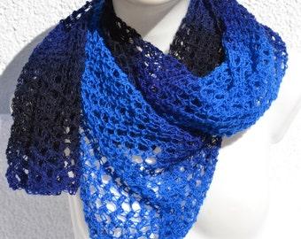Scarf Lace shawl knitted scarf shawl scarf Cabrio towel  blue black heather knit