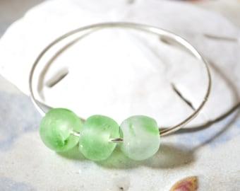 Sea Glass Bangle, Sterling Sea Glass Bracelet, Green Sea Glass Bracelet, Beachy Bangle