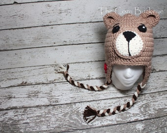 Teddy Bear Hat Crochet Character Hat Sizes Newborn - Adult