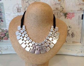 Silver Coloured Statement Necklace with Square detail on  Black cord