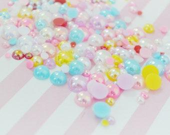 10mm - 2mm Mix Sizes AB Iridescent Pastel Mixed Color Hemishpere Pearls - 200 piece set