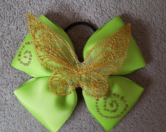 PRE ORDER Hand made Delux large Disney Tinkerbell wings character inspired, green hair bow