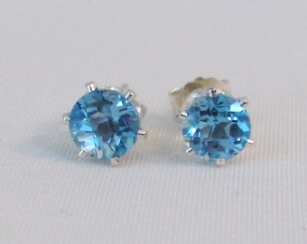 Swiss Topaz Stud Earrings in Sterling Silver, Blue Topaz Post Earrings, Topaz Gemstone Jewelry, December Birthstone, Swiss Topaz Earrings