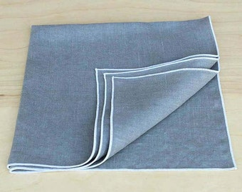 Gray Linen Napkins, Cloth Napkins, Wedding Napkins,Table Napkins, Custom Napkins, Napkin Set,  Shown in White Trim, Set of 4, 20""
