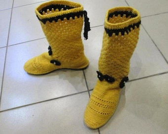Summer FishNet boots knitted crochet.  Sold. Women