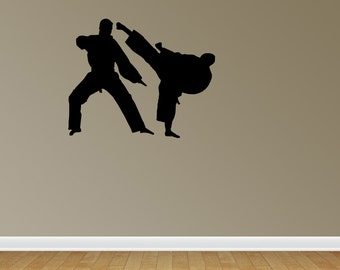 Karate Wall Decal Nursery Wall Decals Karate Wall Stickers Karate Silhouette (JR645)