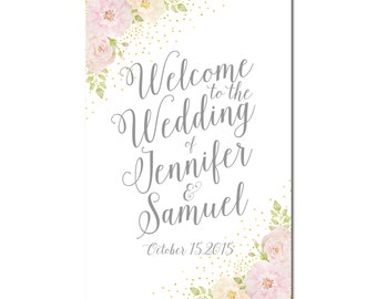 Wedding Welcome Sign, Floral Welcome Sign, Floral Wedding, Welcome Wedding Sign, Floral Sign, Welcome Sign, Reception Sign #CL134