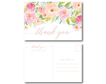 PRINTABLE Thank You Postcard, Floral Thank You Card, Wedding Thank You, Thank You Card, Thank You Postcard, Wedding Postcard #CL131