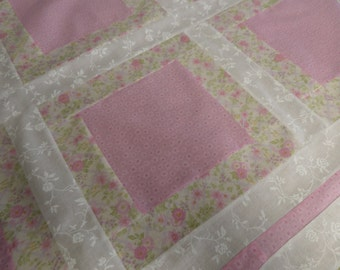 Nine Patch Shabby Chic Baby Quilt Top