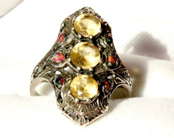 Elegant vintage filigree Sterling, Citrene and Mexican Fire Opal Ring