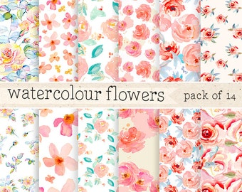 Watercolor Flowers digital Paper: Pattern Background Set, Scrapbook Texture Pack, Instant Download, DIY Wrapping paper
