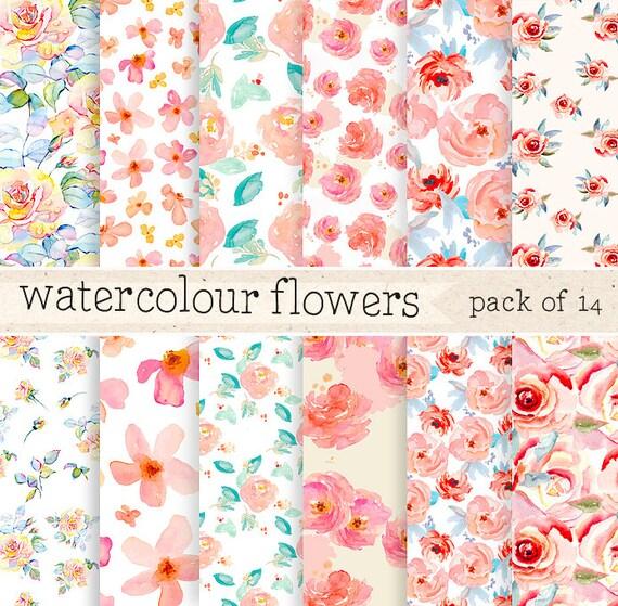 Watercolor Flowers digital PaperPattern Background by ElyseBear