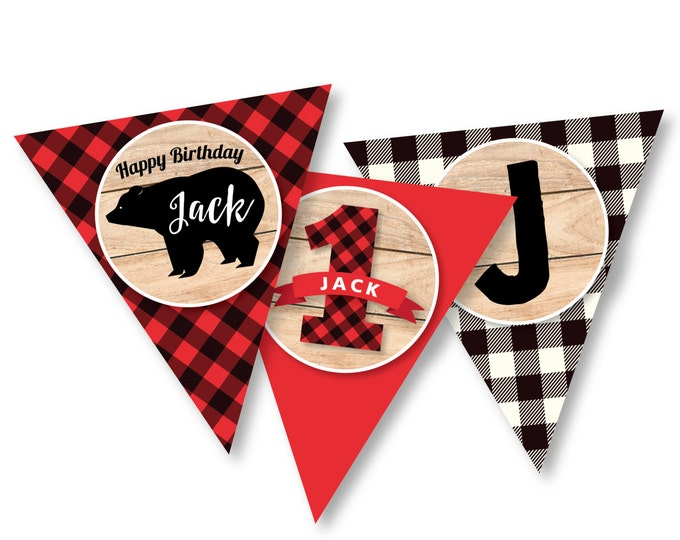 Lumberjack First Birthday Bunting, Printable, Customized, DIY bunting, bear, buffalo plaid, wood / Rustic Woodland Lumberjack boy