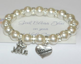 communion bracelet - first communion gift - christian - god - jesus - catholic - religious - faith - holy communion - handmade bracelet