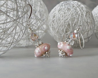 Pale Pink Earrings Pink Lampwork Pink Floral Earrings Pink Dangle Earrings Pink and White Pink Lampwork Glass Pink Flower Earrings Pastel