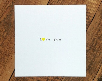 Love Card; 'Love You'; Valentines Card; I Love You Card; Wedding Anniversary Card; Card For Wife GC369