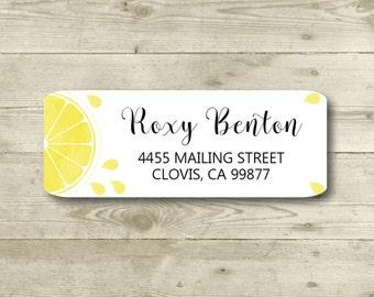 Lemon Burst, Water Color Style, Return Address Label, Custom, MATTE, Fruit, Festive, Lemon Slice, Citris