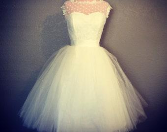Retro Polka Dot Short Wedding Dress - White or Ivory Wedding Dress - Vintage Inspired Wedding Dress
