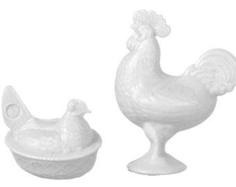 CHRYSNBON DOLLHOUSE MINIATURES Rooster And Nesting Hen Set #CB0152